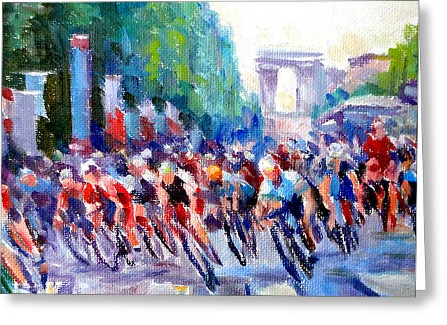Mountain Climbing Print Paintings Greeting Cards - Champs- Elysees Greeting Card by Mark Hartung