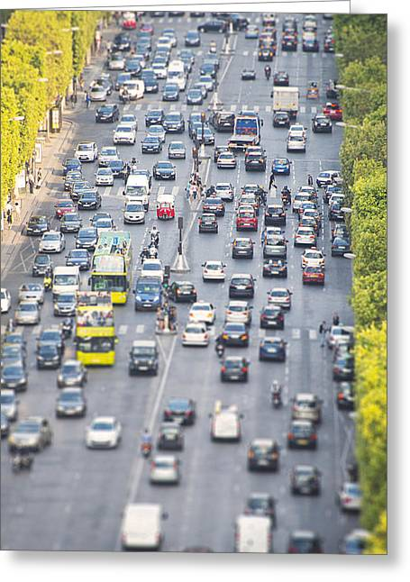 Champs Greeting Cards - Champs-Elysees Rush Hour Greeting Card by Chevy Fleet