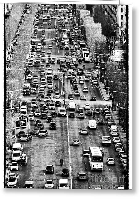 Champs Greeting Cards - Champs Elysees Traffic Greeting Card by John Rizzuto