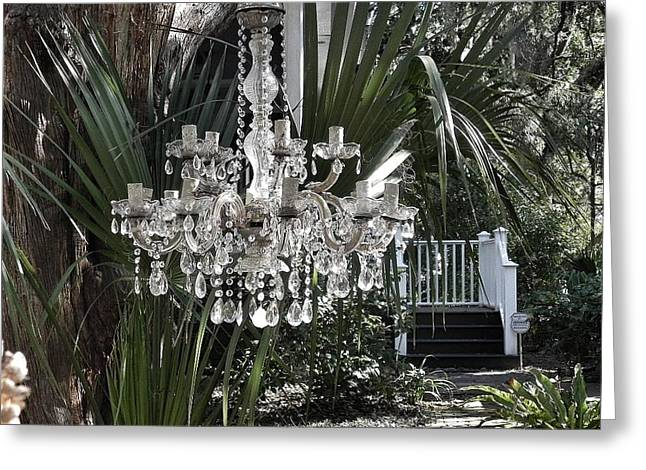 Old Tress Greeting Cards - Chandelier in the Garden Greeting Card by Patricia Greer