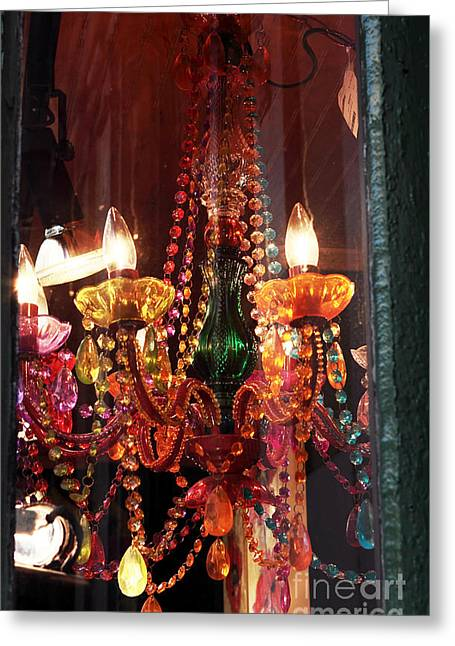 Old School Galleries Greeting Cards - Chandelier Greeting Card by John Rizzuto