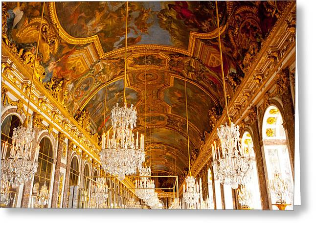 Chateau Greeting Cards - Chandeliers and Ceiling of Versailles Greeting Card by Anthony Doudt