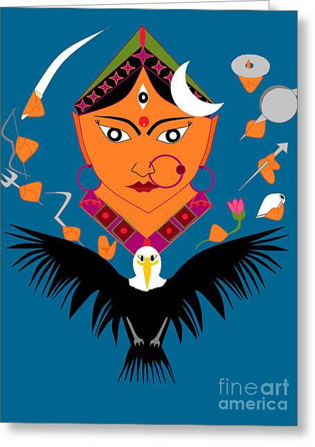 Goddess Durga Digital Art Greeting Cards - Chandraghanta Greeting Card by Pratyasha Nithin