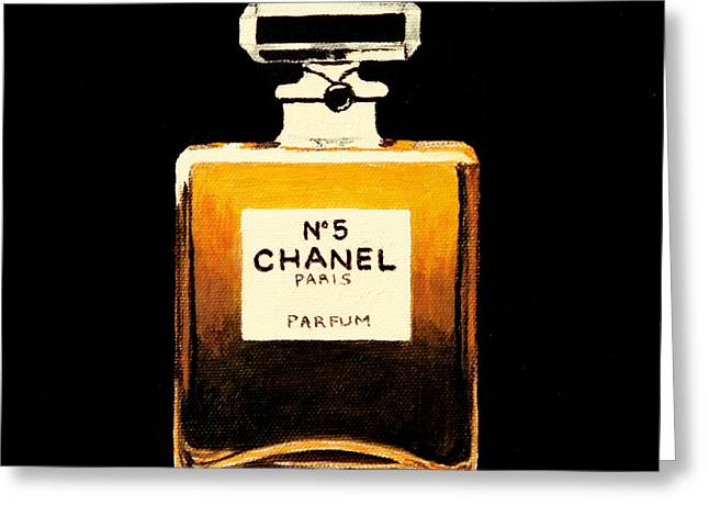 Glass Greeting Cards - Chanel No. 5 Greeting Card by Alacoque Doyle