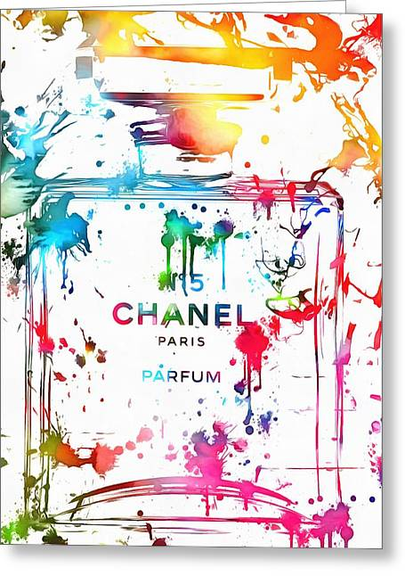 Colorful Photography Mixed Media Greeting Cards - Chanel Number Five Paint Splatter Greeting Card by Dan Sproul