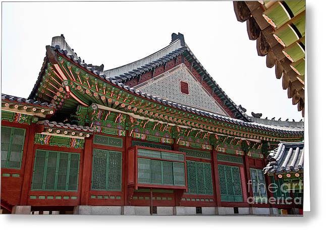 Wooden Building Greeting Cards - Changdeokgung Palace Greeting Card by Ernest Manewal
