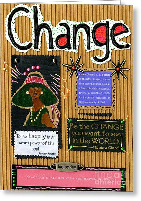 African-american Mixed Media Greeting Cards - Change - Handmade Card Greeting Card by Angela L Walker