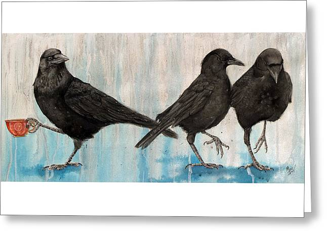 Crow Cards Greeting Cards - Changing of the Crows Greeting Card by Marie Stone Van Vuuren