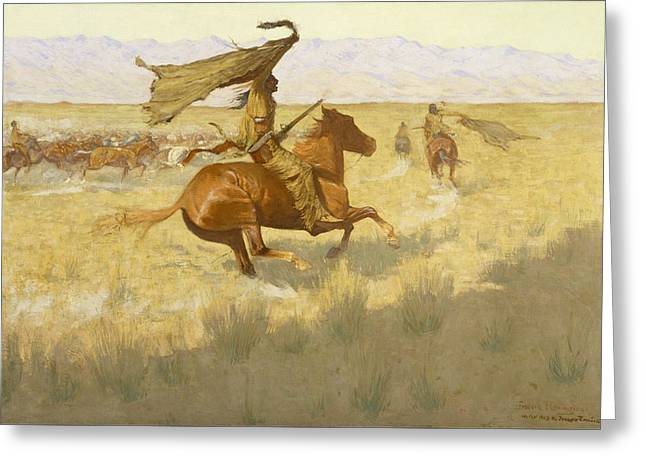 Thief Paintings Greeting Cards - Change of Ownership Greeting Card by Frederic Remington