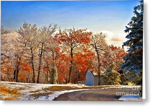 Snowy Roads Digital Greeting Cards - Change of Seasons Greeting Card by Lois Bryan