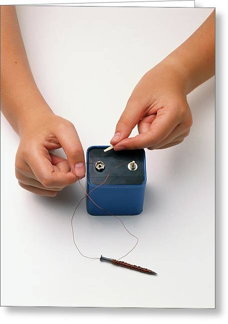 Changing Copper Wires On Battery Greeting Card by Dorling Kindersley/uig