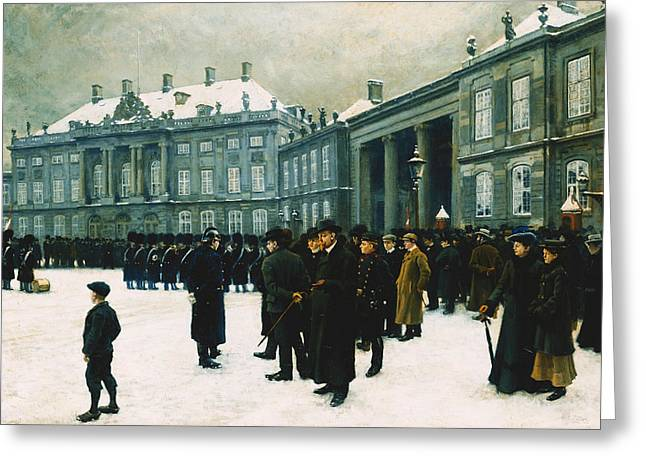 Changing of the Guard at Amalienborg Palace Greeting Card by Paul Fischer