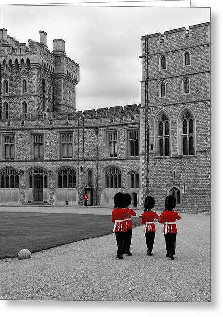 Selective Colouring Greeting Cards - Changing of the Guard at Windsor Castle Greeting Card by Lisa Knechtel