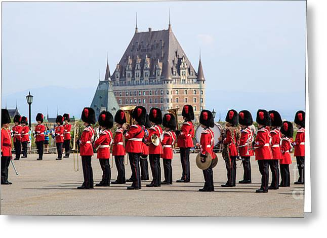 Bastion Greeting Cards - Changing of the Guard The Citadel Quebec City Greeting Card by Edward Fielding