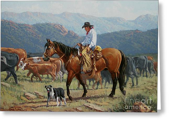 Arizona Cowboy Greeting Cards - Changing Range Greeting Card by Randy Follis