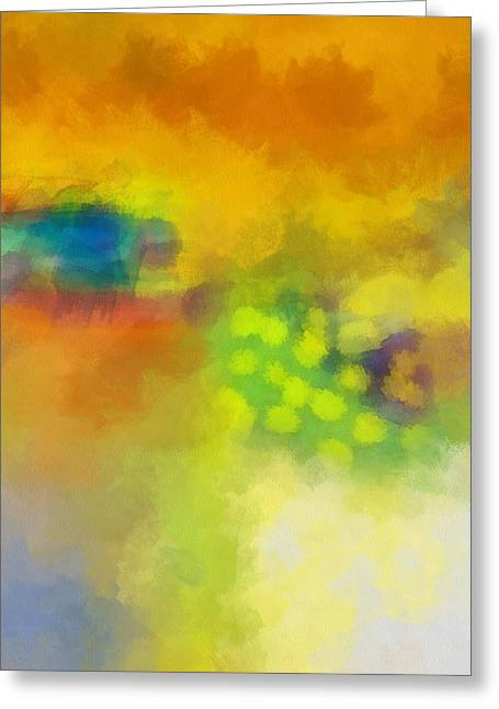 Green And Yellow Abstract Greeting Cards - Changing Seasons Greeting Card by Ann Powell