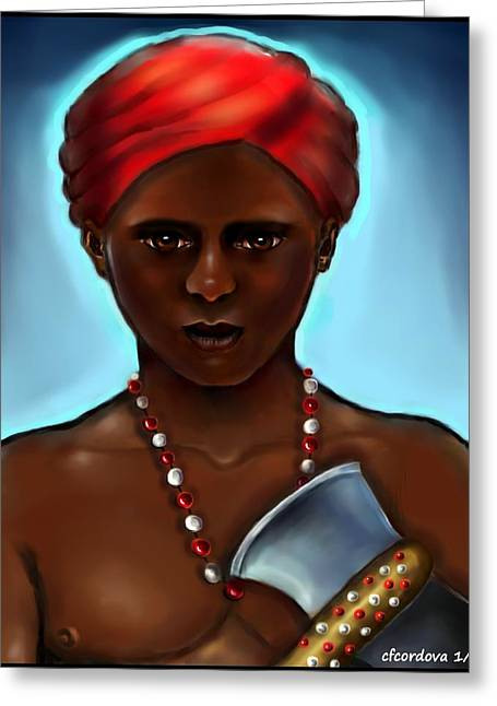 Xango Greeting Cards - Chango- The Warrior 2 Greeting Card by Carmen Cordova