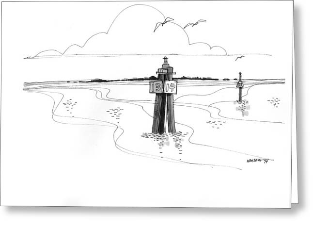 North Shore Drawings Greeting Cards - Channel Markers Ocracoke Inlet Greeting Card by Richard Wambach