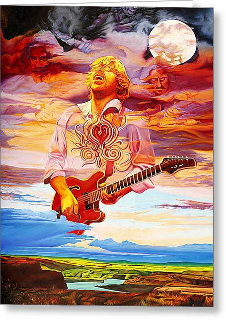 Jimi Hendrix Paintings Greeting Cards - Channeling the Cosmic Goo at the Gorge Greeting Card by Joshua Morton