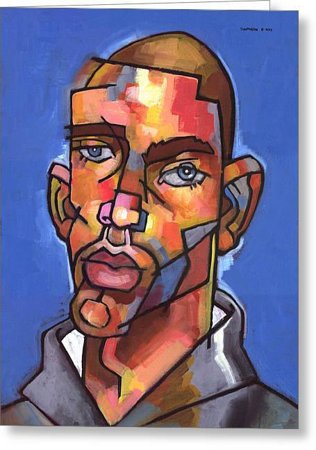 Stylized Paintings Greeting Cards - Channing Greeting Card by Douglas Simonson