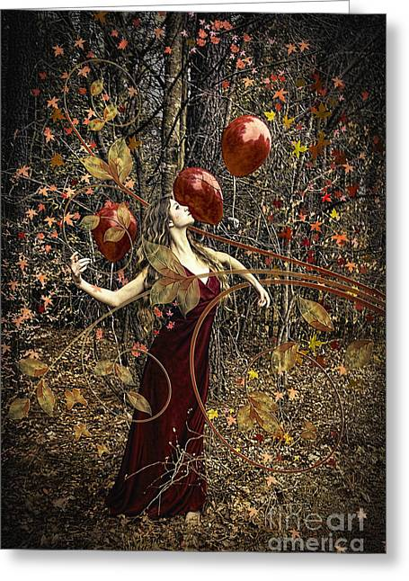 Reds Of Autumn Mixed Media Greeting Cards - Chanson de LAutomne Greeting Card by Spokenin RED