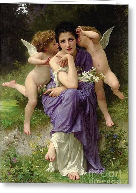 Cherub Greeting Cards - Chansons de Printemps Greeting Card by William Adolphe Bouguereau