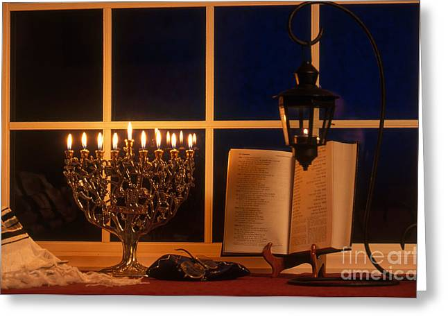 Candelabra Greeting Cards - Chanukah Menorah Greeting Card by Alan and Sandy Carey