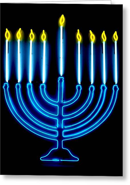 Neon Glass Art Greeting Cards - Chanukah Menorah Greeting Card by Pacifico  Palumbo