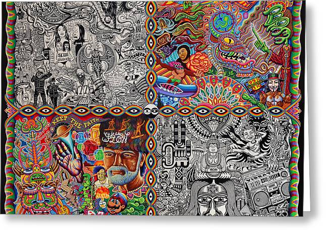 Trippy Greeting Cards - Chaos Culture Jam Greeting Card by Chris Dyer