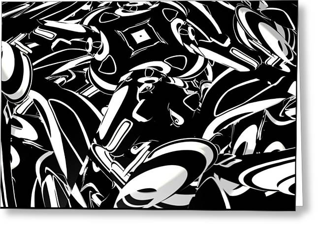 Louis Ferreira Art Greeting Cards - Chaos In BW Greeting Card by Louis Ferreira