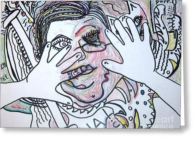 Pablo Picasso Drawings Greeting Cards - Chaotic Greeting Card by Lois Picasso