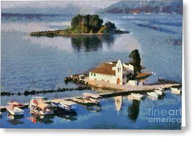 Island Greeting Cards - Panagia Vlachernon monastery in Corfu island Greeting Card by George Atsametakis