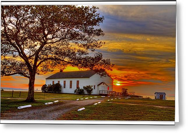 Recently Sold -  - Base Path Greeting Cards - Chapel At Fort Hancock Sandy Hook Nj In Sunset Greeting Card by Geraldine Scull