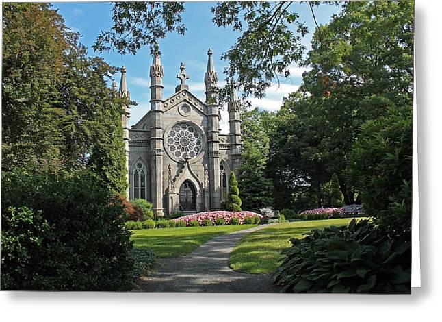 Auburn Ma Greeting Cards - Chapel at Mt Auburn Cemetery Greeting Card by Michael Saunders