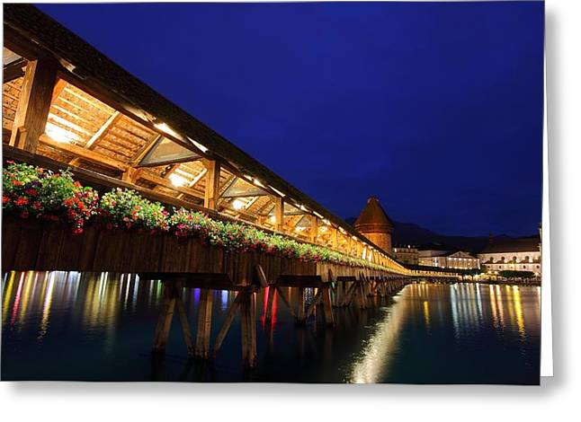 Chapel Bridge at Lucerne in Switzerland Greeting Card by Jetson Nguyen