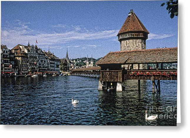 Covered Bridge Greeting Cards - Chapel Bridge, Lucern, Switzerland Greeting Card by Bill Bachmann