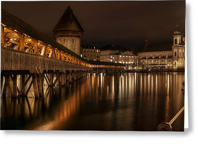Caroline Pirskanen Greeting Cards - Chapel Bridge Lucerne Greeting Card by Caroline Pirskanen