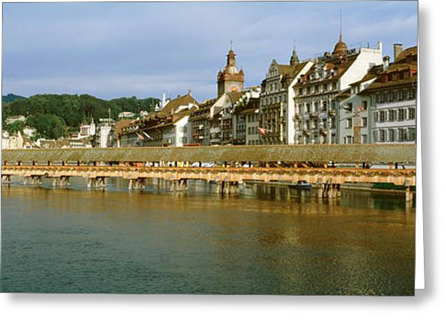 Clocktower Greeting Cards - Chapel Bridge, Luzern, Switzerland Greeting Card by Panoramic Images