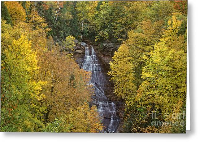 Flowing Wells Greeting Cards - Chapel Falls Autumn Upper Peninsula Michigan Greeting Card by Dave Welling