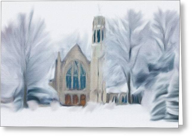 Teen Town Greeting Cards - Chapel In The Snow Greeting Card by Dennis Buckman