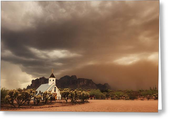 Chapel In The Storm Greeting Card by Rick Furmanek