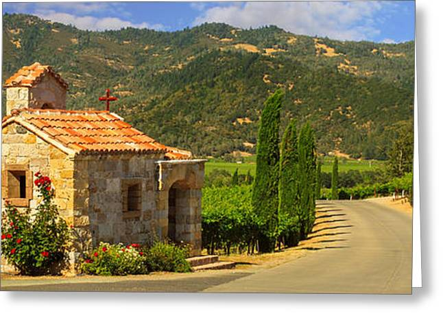 Wine Scene Greeting Cards - Chapel In The Vineyard Greeting Card by James Eddy