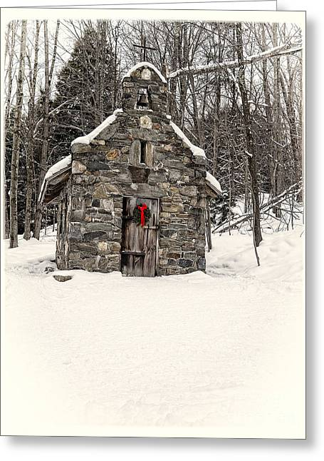 Wreath Greeting Cards - Chapel in the Woods Stowe Vermont Greeting Card by Edward Fielding