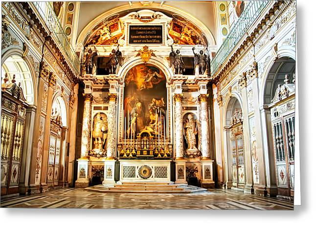 Fontainebleau Greeting Cards - Chapel Inside Chateaux Fontainbleau - France Greeting Card by Jon Berghoff