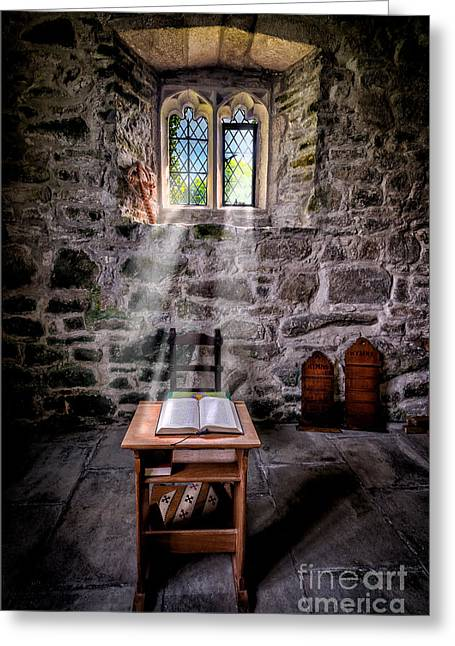 Hymns Greeting Cards - Chapel Light Greeting Card by Adrian Evans