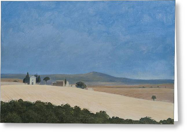 Pienza Greeting Cards - Chapel Near Pienza, 2012 Acrylic On Canvas Greeting Card by Lincoln Seligman