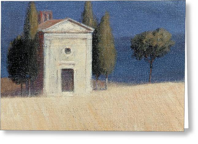 Sienna Greeting Cards - Chapel Near Pienza Ii, 2012 Acrylic On Canvas Greeting Card by Lincoln Seligman