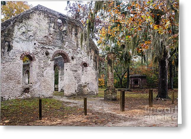 Frogmore Greeting Cards - Chapel of Ease Ruins and Mausoleum St. Helena Island South Car Greeting Card by Dawna  Moore Photography