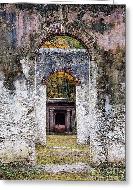 Frogmore Greeting Cards - Chapel of Ease Ruins Doorway and Mausoleum St. Helena Island S Greeting Card by Dawna  Moore Photography
