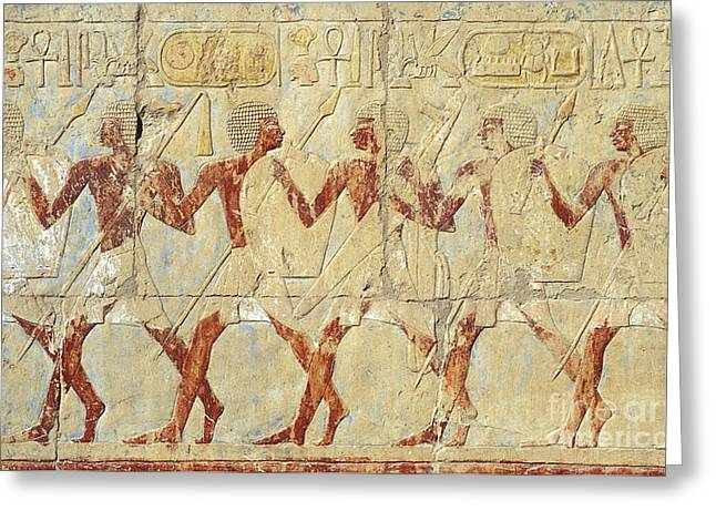 Hathor Photographs Greeting Cards - Chapel of Hathor Hatshepsut Nubian Procession Soldiers - Digital Image -Fine Art Print-Ancient Egypt Greeting Card by Urft Valley Art